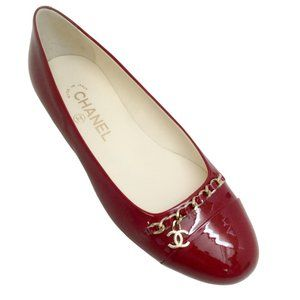 Chanel Red Patent Chain Detail Flats